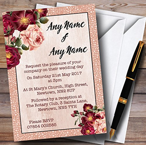 Coral Blush & Deep Red Watercolour Rose Personalized Wedding Invitations