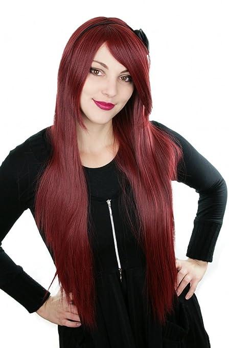 Prettyland C918 - vino rojo 80cm / burdeos calor suave teatro peluca de la fibra resistente