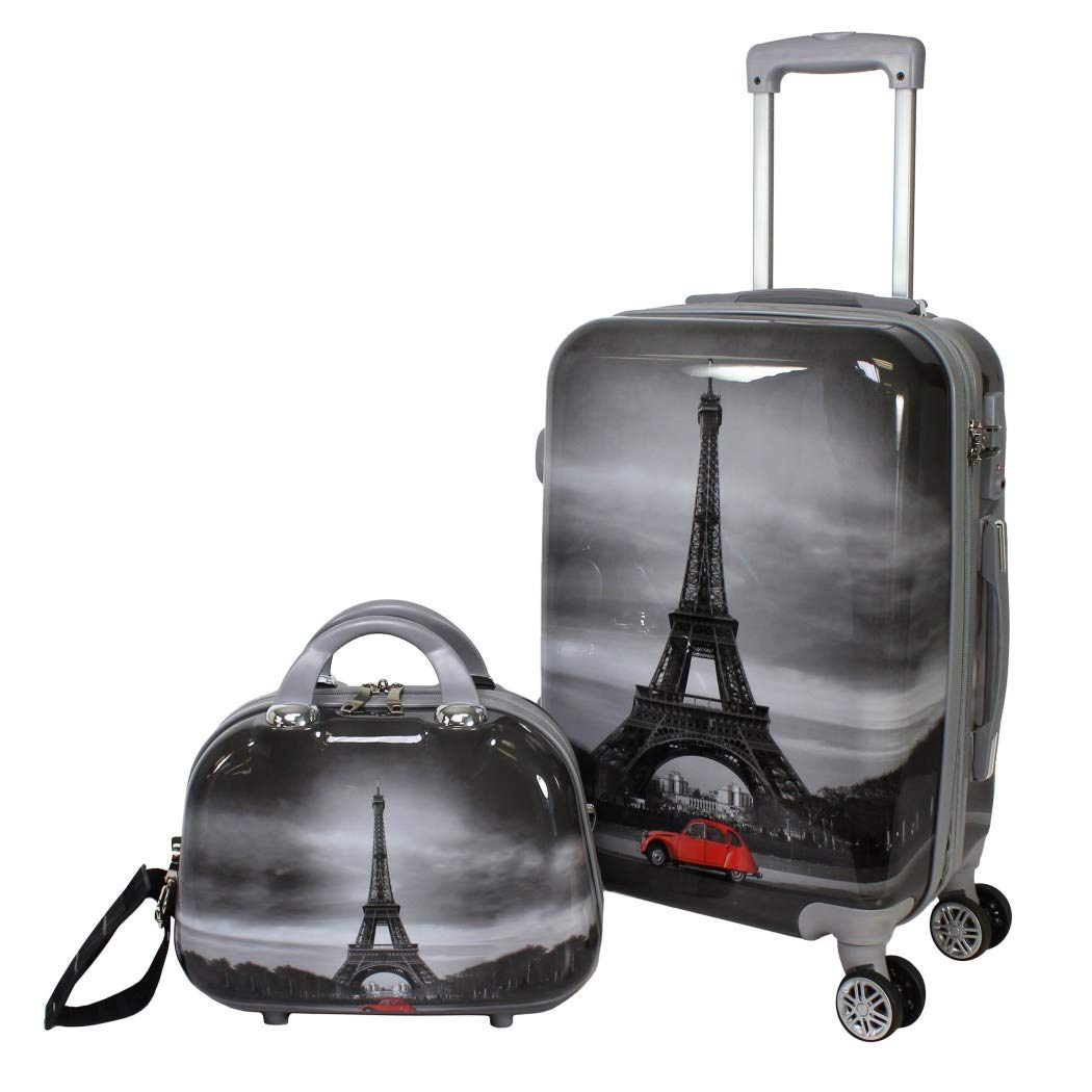 DH 2 Piece Girls Black White Grey Red Eiffel Tower Theme Hardtop Luggage Paris France French Inspired Famous Landmark Themed Pattern Upright Rolling Lightweight Hardside Hardshell Carry On Suitcase