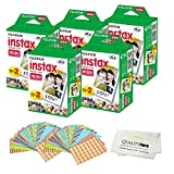 Fujifilm INSTAX Mini Instant Film 2 Pack - 100 SHEETS - (White) For Fujifilm Instax Mini 8 & Mini 9 Cameras + Frame Stickers and Microfiber Cloth Accessories …