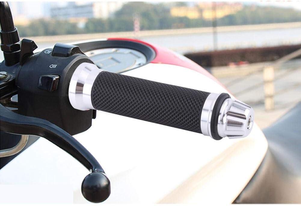 Universal Motorcycle Handlebar Grips CNC Aluminum Rubber Motorbike Handle Bar Grips for 7//8 Handle Bar Bike Bicycle Gold