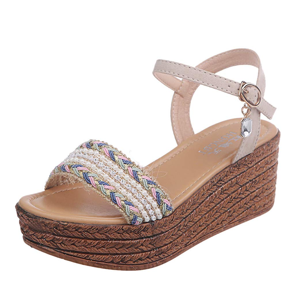 RefulgenceWomen's Wedge Sandals, Fashion Casual Crystal Open Toe Shoes Platforms High Heels Shoes(Beige,US=6)