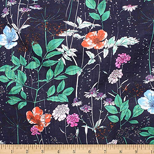 Telio Verona Cotton Rayon Voile Print Floral Fabric, Navy, Fabric By The Yard