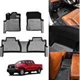 KUST 5D Floor Mats for Toyota Tundra 2014-2021 Double Cab / Crew Max Cab All Weather Floor Carpet Liner 2 Row Liner Set TPE
