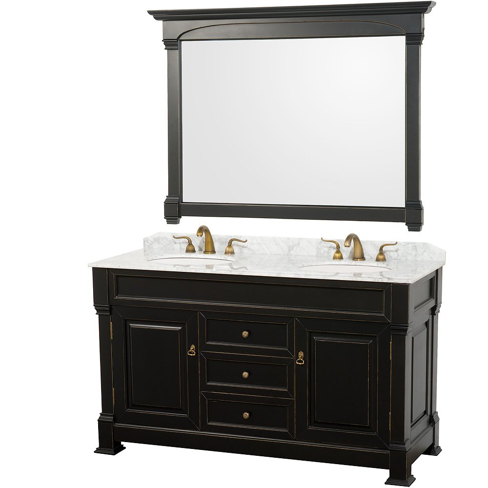Wyndham Collection Andover 60 inch Double Bathroom Vanity in Black, White Carrara Marble Countertop, Undermount Oval Sinks, and 56 inch Mirror