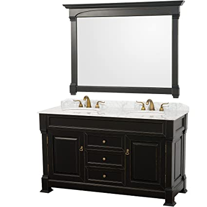 Wyndham Collection Andover 60 Inch Double Bathroom Vanity In Antique Black  With White Carrera Marble Top
