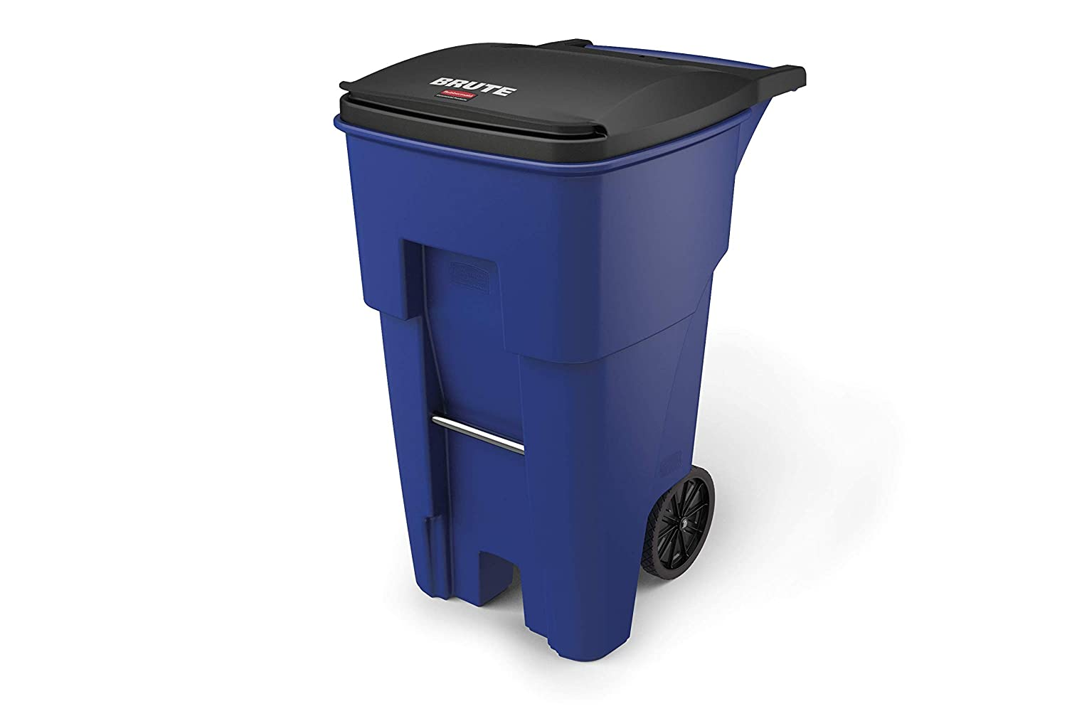 Rubbermaid Commercial Products FG9W2173BLUE BRUTE Rollout Heavy-Duty Wheeled Trash/Garbage Can, 65-Gallon, Blue
