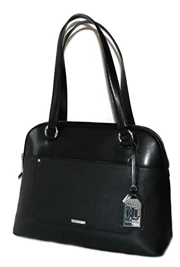 New Ralph Lauren Logo Purse Dome Satchel Genuine Black Leather Hand Bag  Fulton 7a941cb127
