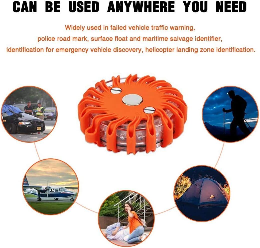 3 Pack-1 3 Pack wiederaufladbare Warnleuchte f/ür Notbeleuchtung LED-Flare Signal Strobe-Blinkleuchte f/ür Pannenhilfe am Stra/ßenrand LED-Pannenleuchte