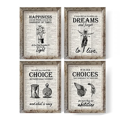 IHopes+ Harry Potter Quotes and Sayings Vintage Book Art Prints | Set of Four Photos 8x10 Unframed | Great Harry Potter Gifts