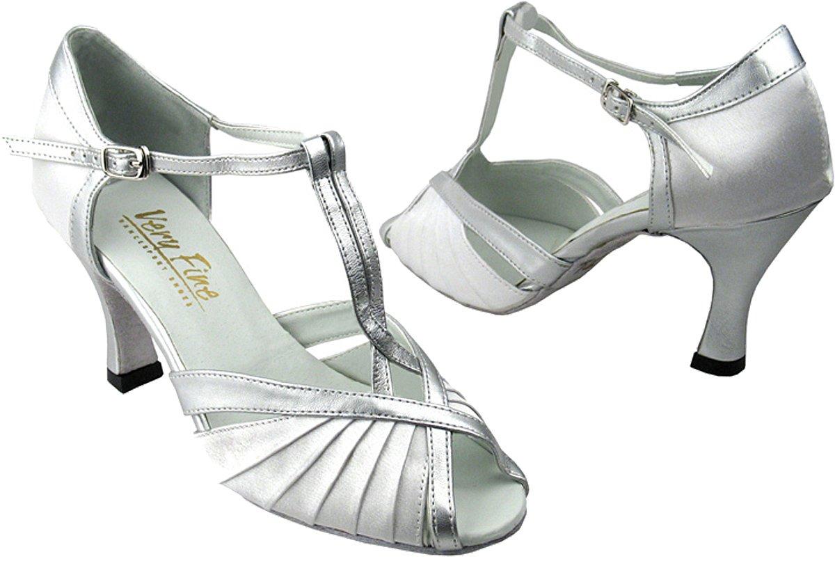 Very Fine Women's Salsa Ballroom Tango Latin Dance Shoes Style 2707 Bundle with Plastic Dance Shoe Heel Protectors, White satin 8 M US Heel 2.5 Inch by Very Fine Dance Shoes
