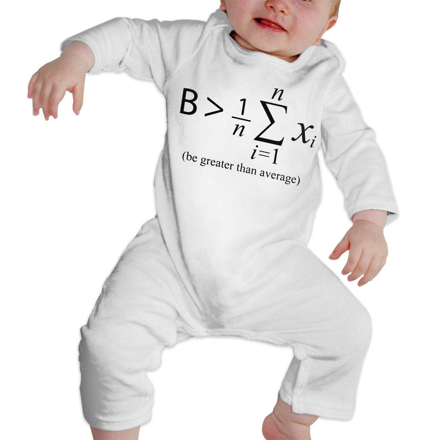 Zmli Be Greater Than Average Math Baby Boy Girl Long Sleeve Romper Jumpsuit Organic Coverall Onsies