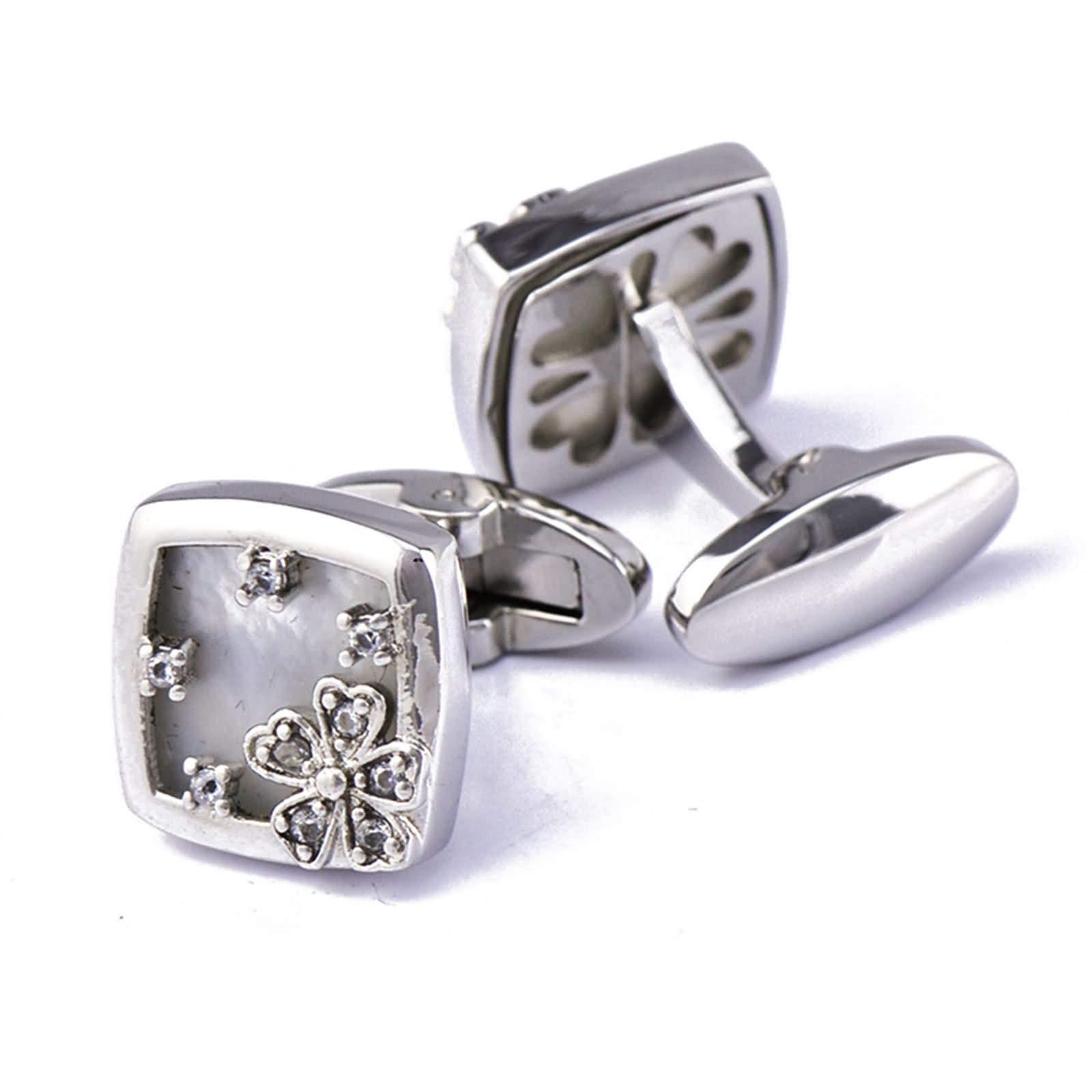 Daesar Copper Cuff Links Cufflinks Wedding Groom Flower Square Cubic Zirconia White Cuff Link Silver