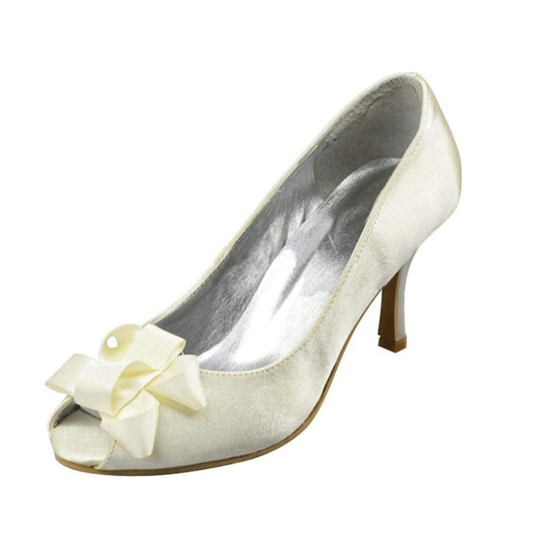 ZHRUI Bogen-Absatz-Abend-Partei-Schuhe der Mädchen-Frauen die Sandelholze Heiraten (Farbe (Farbe (Farbe   Weiß-7.5cm Heel Größe   4 UK) 0584bb