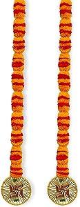 Decorative Handcrafted Multicolour Door Hangings Toran, Artificial Marigold Fluffy Flowers String Garlands Toran, Home Door Wall Hanging Decorative Toran Pack of 2