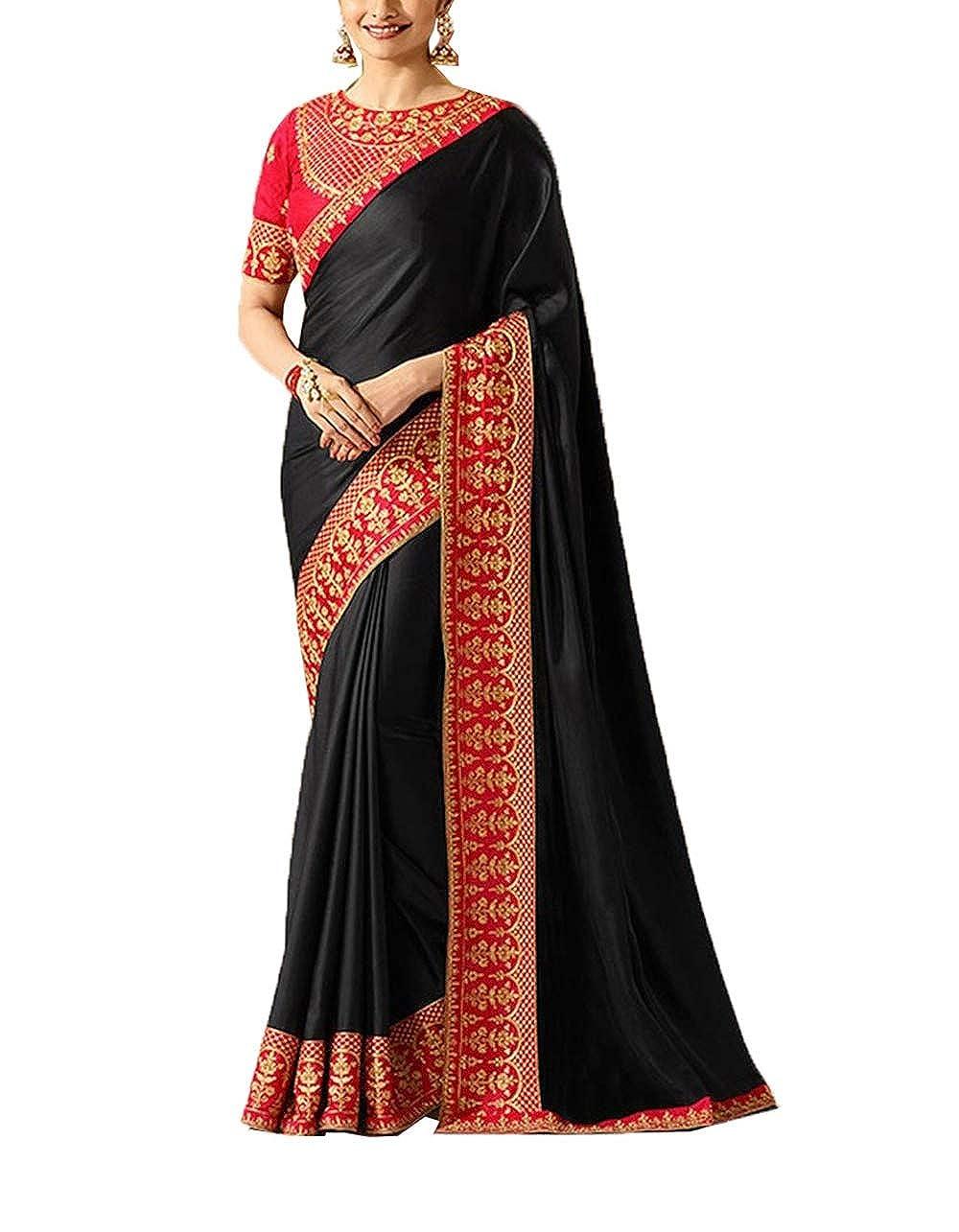 Da Facioun Women's Sparkle Silk Embroidery Saree (Black & Red)