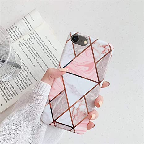 Surakey kompatibel mit iPhone 8 H/ülle,Handyh/ülle iPhone 7 Case Rosa Marmor Muster Ultrad/ünn TPU Silikon H/ülle Schutzh/ülle Weiche Crystal Clear Silikon Bumper R/ückschale Case Cover,Pink