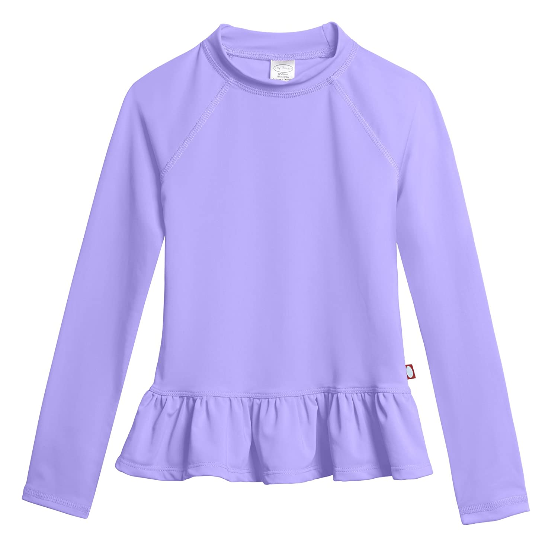 City Threads Big Girls' Rash Guard Peplum Long Sleeve Sun Shirt with SPF50+ CT-PEPRASH-P