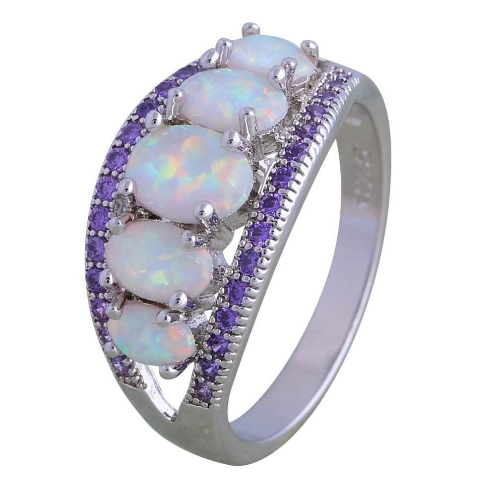 Amethyst White Fire Opal 925 Sterling Silver Ring Gift Party Wedding Oval Opal rings for women R177 Garilina