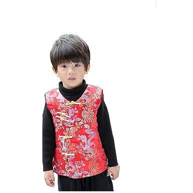 d37b3ad0bb Amazon.com: Hooyi Baby Boy Sleeveless Quilted Jacket Children Dragon ...