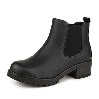8a4fedb71b71c4 best-boots Damen Plateau Stiefelette Chelsea Boots Stiefel Trend Schwarz  1240 Größe 36