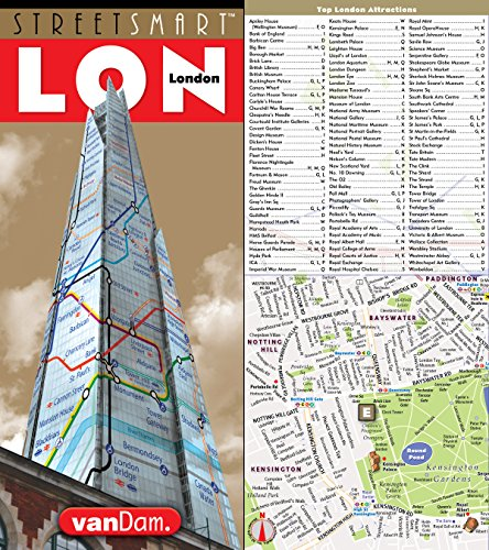 StreetSmart London Map by VanDam - City Street Map of London, England - Laminated folding pocket size city travel and Tube map with all museums, attractions, hotels and sights; 2018 Edition cover