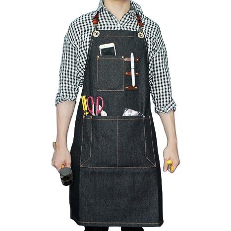 Delantal denim Boshiho para trabajos pesados, ajustable con correas de cuero cruzadas en la espalda