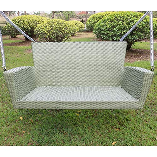Kingston Contemporary Resin Wicker Porch Swing (Antique Moss)