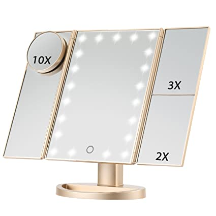 Tri Fold Vanity Mirror With Lights Awesome Amazon Magicfly Led Lighted Makeup Mirror 60X 60X 60X 60X