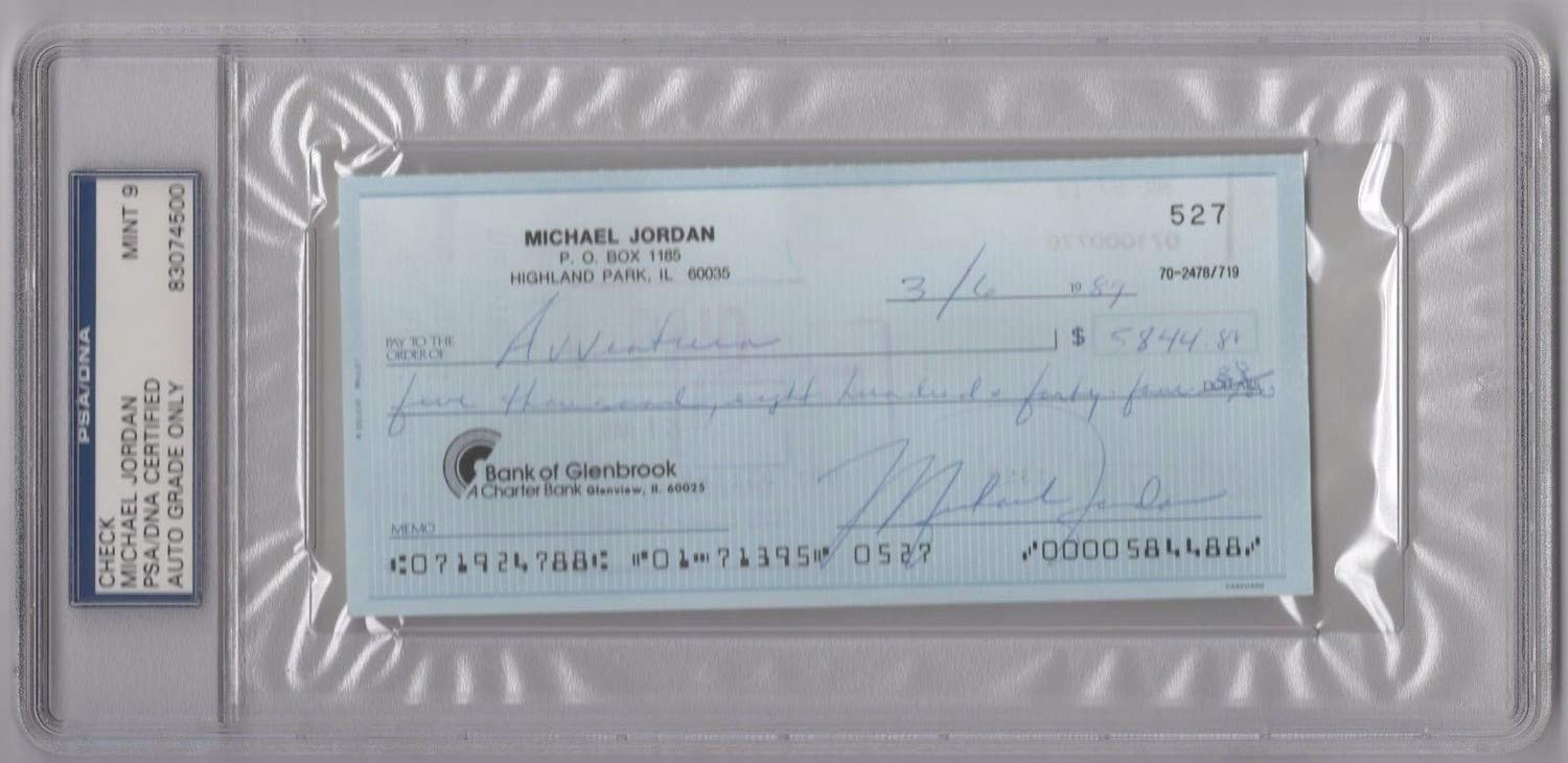 Michael Jordan Autographed Signed Memorabilia Personal Check From 1989 PSA/DNA Graded 9 Certified Rare