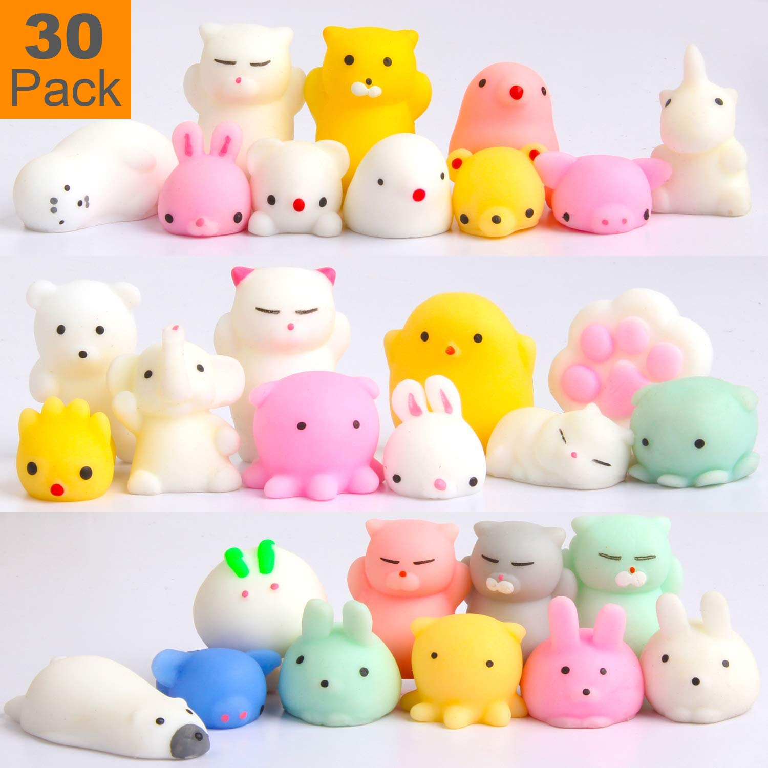 Squishy Toys Party Favors for Kids - Squishys 30 Pack Mini Mochi Squishies, Pinata Filler Treasure Box Prizes Classroom Unicorn Cat Stress Reliever Pug Stuffed Animal Silicon Panda Plushies by Feroxo by Feroxo