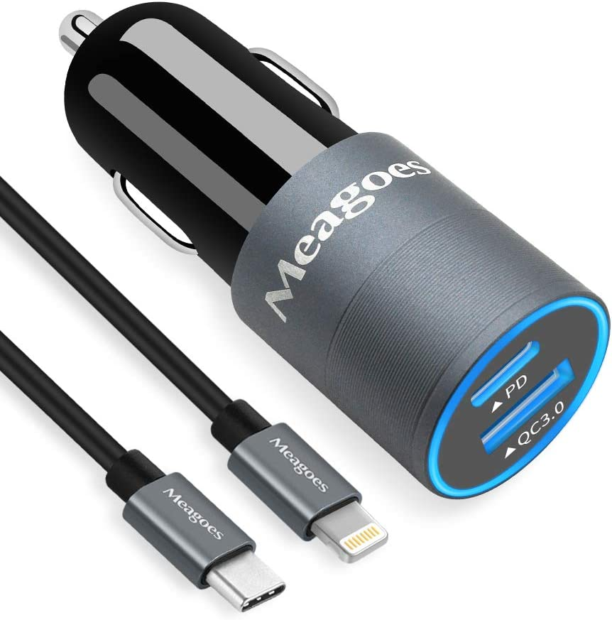 Meagoes USB C Car Charger MFi Certified, 18W PD Fast Charging Adapter, Compatible for Apple iPhone 11 Pro Max/11 Pro/11/XS Max/XS/XR/X/8 Plus/8 Phone, with 3.3ft Type C to Lightning Cable Cord