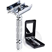 BAILI Twin-bladed Double Edge Safety Razor Shaver Classic Men's Twist Butterfly Open Head with 1 Swedish Platinum Blade 1 Mirrored Travel Case, Silver, BD179