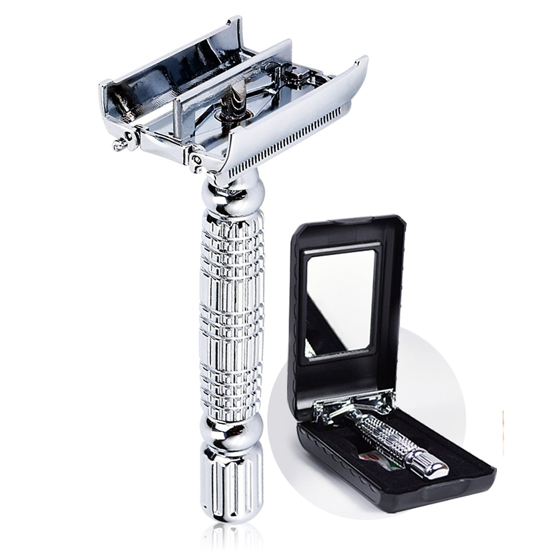 BAILI Twin-bladed Double Edge Safety Razor Shaver Classic Men's Twist Butterfly Open Head with 1 Platinum Blade 1 Mirrored Travel Case, Silver, BD179