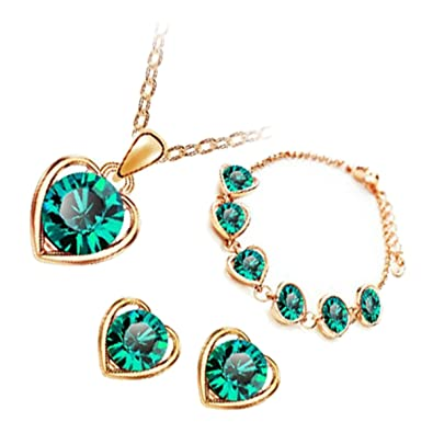 GWG 18K Gold Plated Jewellery Set of Pendant Necklace, Earrings, and Chain Bracelet Round