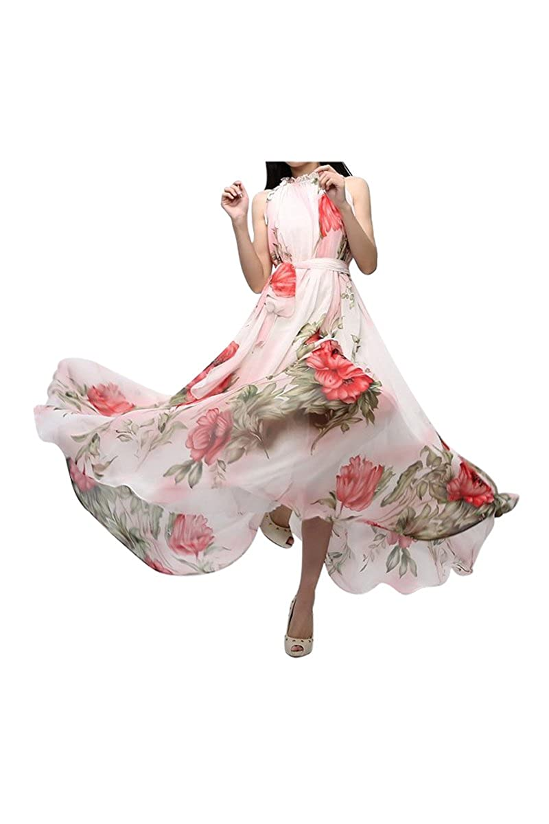 4041c9b2a9d5 TOOGOO(R) Summer Elegant BoHO Lotus Leaf Big Hem Chiffon Maxi Flowers Dress   Amazon.co.uk  Clothing