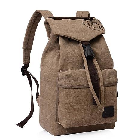 cf78b96756 Urmiss Casual Canvas Backpack Fashion Retro Rucksack College Student  Schoolbag Daypack Travel Shoulder Bag Coffee - - Amazon.com