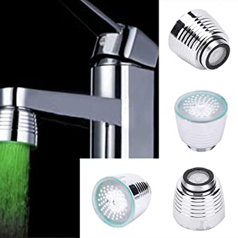 Glow LED Faucet Temperature Sensor Light RGB 3 Color Shower Kitchen Water Tap US