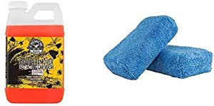 Chemical Guys CWS_104 Bug & Tar Heavy Duty Car Wash Shampoo (64oz), 64. Fluid_Ounces and MIC_292_02 Premium Grade Microfiber Applicator, Blue (Pack of 2)