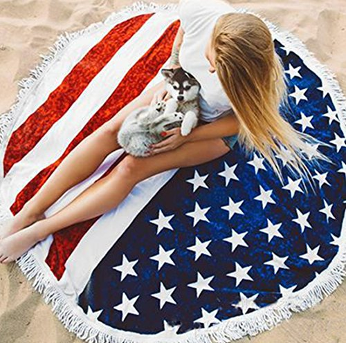 Winzik 4th of July USA Flag Beach Pad Diameter 60 Inches Sunshine Vacation Hiking Camping Picnic Pad Sheet Home Round Tablecloth Decor ()