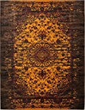 Luxury Modern Vintage Inspired Overdyed Area Rugs Yellow 10′ x 13′ FT Artis Designer Rug Colorful Craft Rugs and Carpet Review