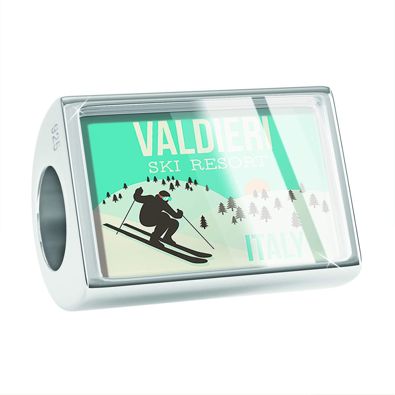 Italy Ski Resort 925 Sterling Silver Bead NEONBLOND Custom Charm Valdieri Ski Resort
