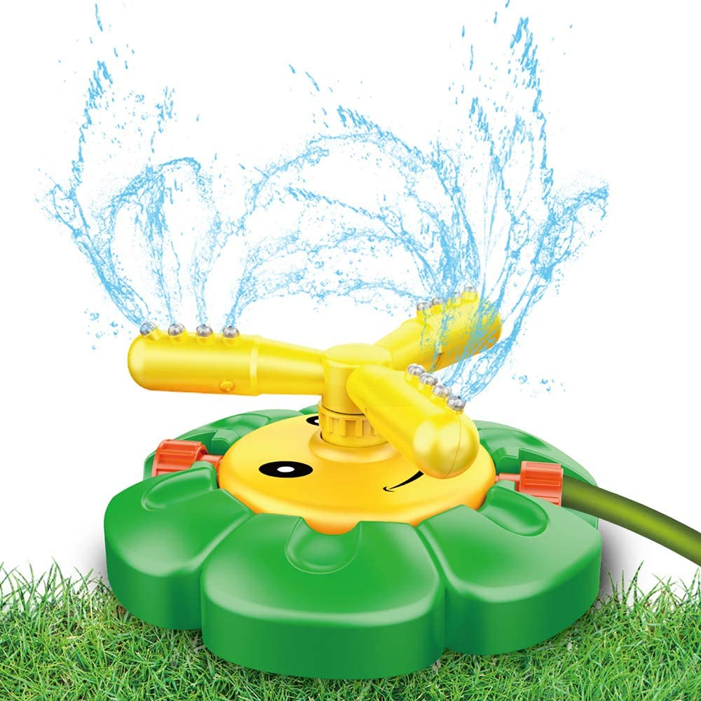 Outdoor Water Spray Sprinkler for Kidsand Toddler- Backyard Spinning SunflowerSprinkler Toy- Lawn/Garden Sprinkler Splashing Fun for Summer Days - Fun Gift for Age 3 4 5 6 7 8Years Old Boys Girls
