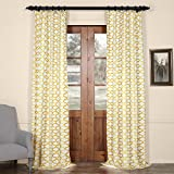 HPD HALF PRICE DRAPES PRCT-D02A-84 Illusions Printed Cotton Curtain,Yellow,50 X 84 For Sale
