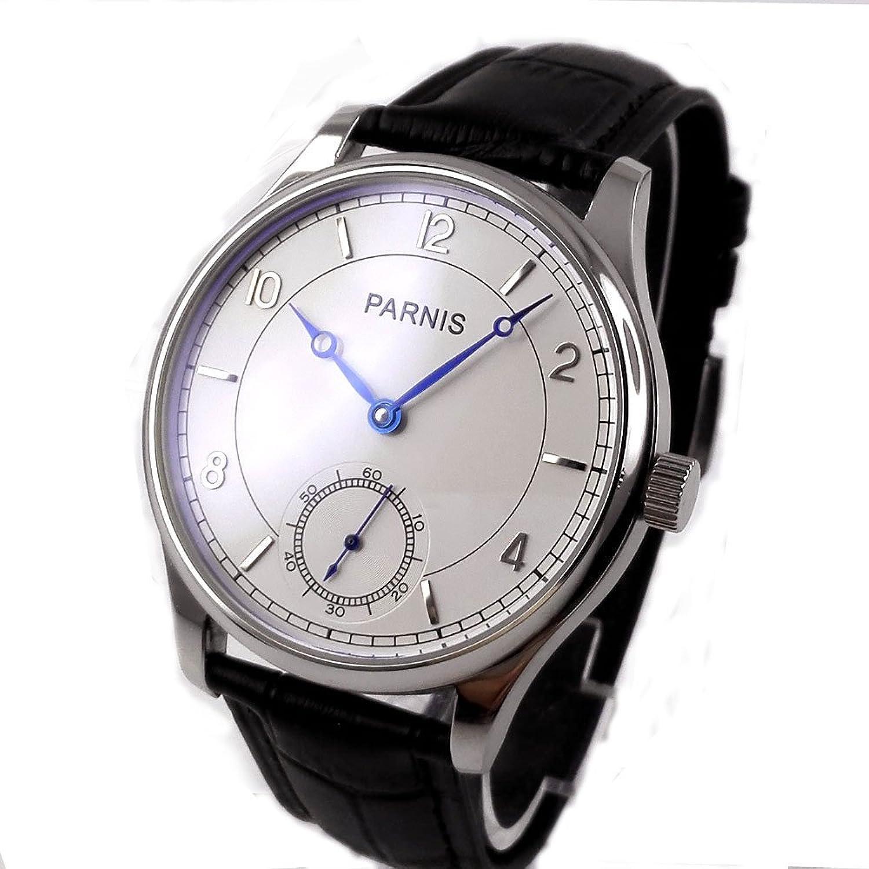 ファッション44 mm Parnis Hardenedミネラルガラスホワイトダイヤルブルーマーカー17 Jewels 6498自動移動メンズ腕時計pa29 B07CL2MBLR