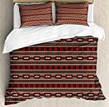 Native American Decor Duvet Cover Set Queen Size by Ambesonne, Ethnic Ikat Primitive Aztec Style Pattern, Decorative 3 Piece Bedding Set with 2 Pillow Shams
