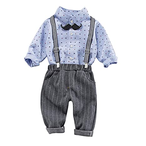 Baby Boy Suit Long Sleeve Polo Shirt Top y Suspender Long Strip ...