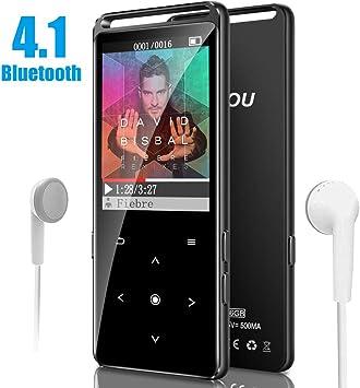 Soporta hasta 128GB FM Radio Reproductor 16GB MP3 MP4 Bluetooth 4.0 con Clip Reproductor de M/úsica para el Deporte Pantalla TFT de 2.4 pulgadas Podometro Auriculares