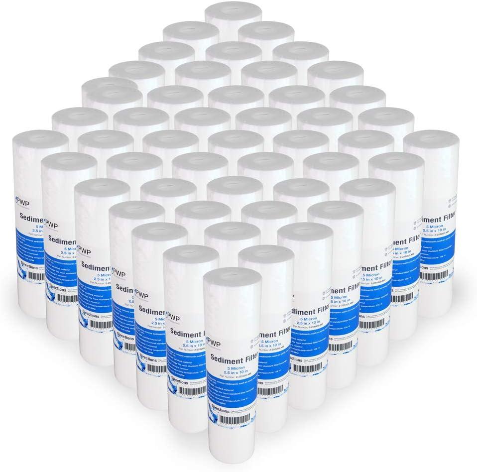 Sediment Melt Blown Water Filter Cartridge Standard 2.5x10 5 Micron 50 Pack