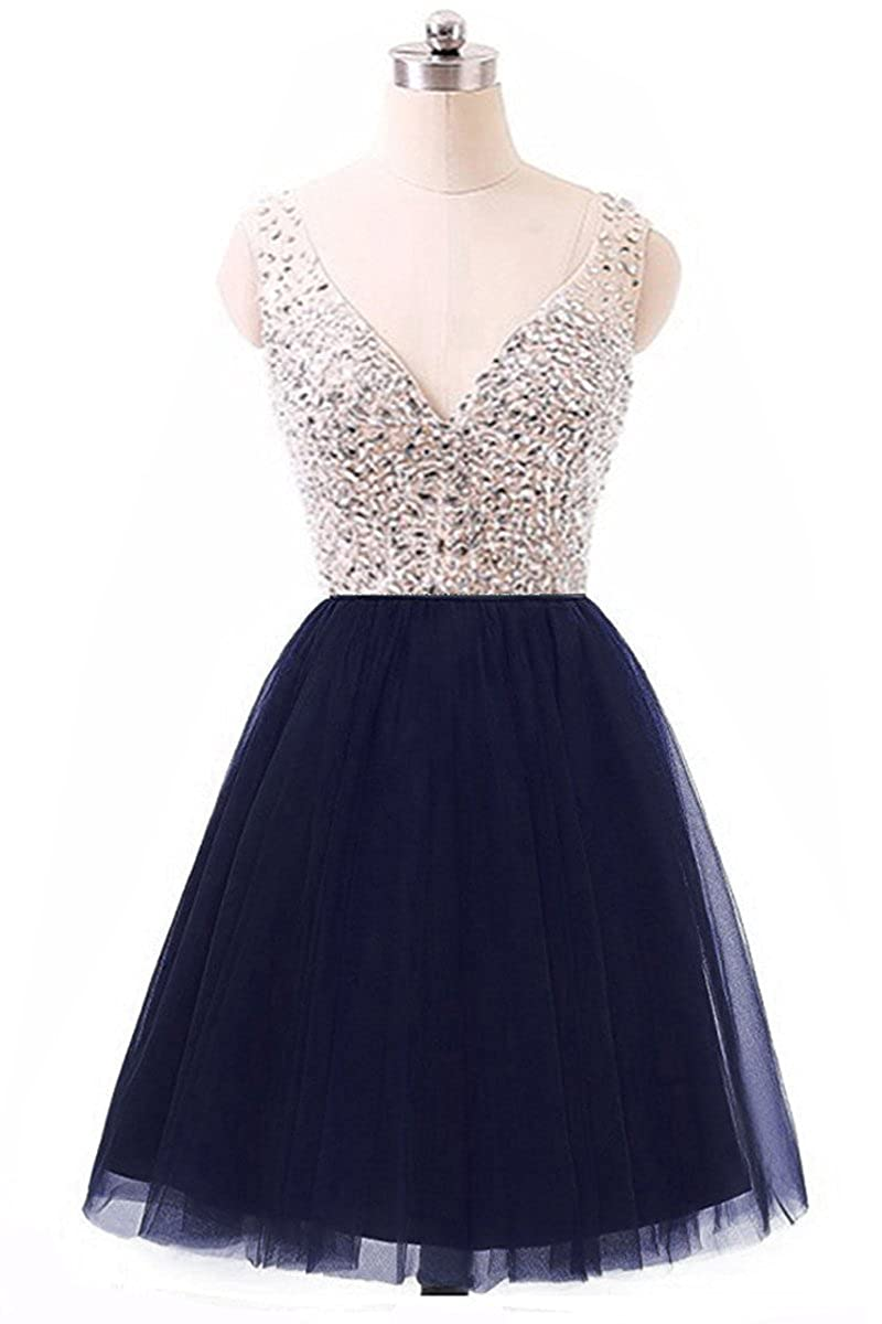 6ddb90f0d0a35 Vivi Short Mini Sexy Deep V Neck Cocktail Prom Dresses 2017 Sequin Beading  Evening Party Ball Gown Satin ZJ069 at Amazon Women's Clothing store:
